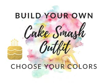 Cake Smash Outfit Boy - Choose Your Colors - Build Your Own - First Birthday Boy Outfit - Hat, Bow Tie, Suspenders, Diaper Cover Set