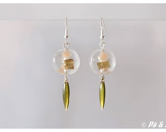 Khaki gold earrings and powder pink #0902