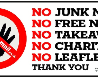 No Junk Mail - No Canvassing - Vinyl Letterbox Sticker - No Junk Mail Sign : BRN