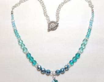 March Aquamarine Crystal Necklace with Heart Pendant
