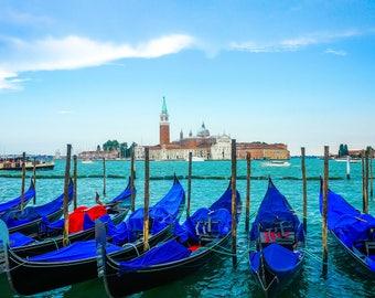Photo Print: Blue boats in Venice