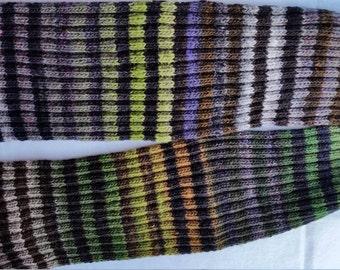 SCARF, MEN'S, hand-knit, striped scarf, Noro Kureyon, ribbed, dark colors, beautiful, Handknit, outdoor wear, all wool, long scarf,