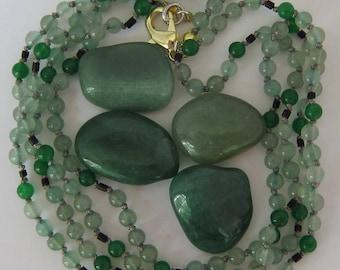 Aventurine-Green Jade-Wood Wrap Necklace - Genuine Gemstones & Pure Silk Thread