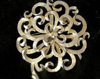 Fancy Flower Pin - Vintage Signed Crown Trifari Silver Tone Filigree Fancy Floral Pin