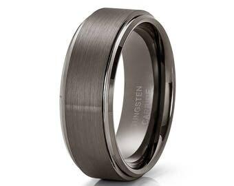 Gray Tungsten Wedding Band Men & Women Tungsten Carbide Ring Grey Wedding Ring Brush Comfort Ring Engagement