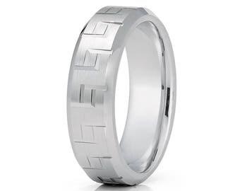 White Gold Wedding Band Greek Patter Wedding Ring Men & Women 14k Gold Wedding Band Anniversary Ring
