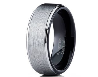 Black Tungsten Wedding Band Men & Women Tungsten Carbide Ring Silver Tungsten Ring Brush Wedding Band