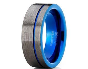 Blue Tungsten Wedding Band Gunmetal Tungsten Wedding Band Men & Women Gray Tungsten Wedding Band Brush Anniversary Ring