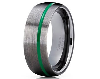 Green Tungsten Wedding Band Gunmetal Tungsten Ring Men & Women Black Tungsten Ring Green Brush Ring Tungsten Carbide