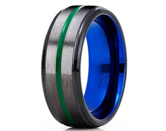 Gunmetal Tungsten Wedding Band Green Tungsten Ring Anniversary Ring Men & Women Black Tungsten Wedding Band Blue Ring