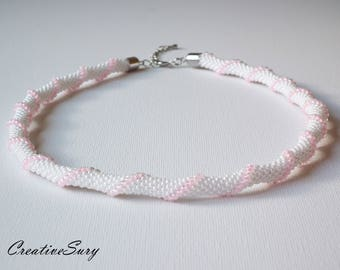 Spiral Rope - Bead Crochet Necklace