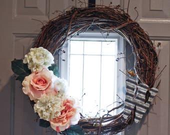Custom letter Peony/Hydrangea Wreath