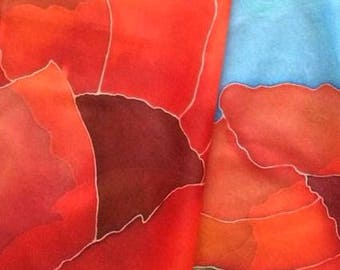 Spring scarf summer scarves hand painted scarf Summer scarfs Spring scarves Summer scarf Poppies scarf Red silk scarf summer spring scarf