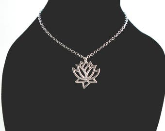 Lotus Charm Necklace, Origami Lotus Charm, Lotus Flower Necklace, Lotus Flower Charm Necklace, Silver Lotus Flower, Dainty Lotus Flower