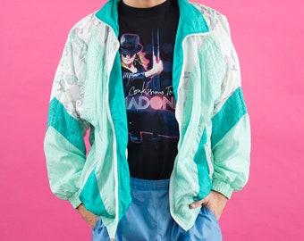Vaporwave, Windbreaker, 90s Vaporwave, Vintage, 90s Windbreaker, Aesthetic, Pastel, 90s Clothing, 80s Windbreaker, Seafoam Green, Seapunk