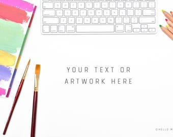 Desktop Styled Stock Photography - Styled Stock Photography - Office Stock Images - Artist Mock Up - Artwork Mockup