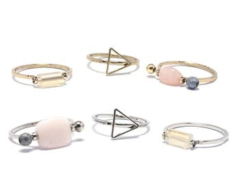 Set of 3 midi rings in ethno-Boho style-knuckle rings in vintage style