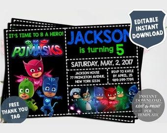 PJ Masks Invitation Instant Download, Pj Masks Invitation Download, Pj Mask Birthday Invitation, PJ Masks Invite, Editable PDF Template