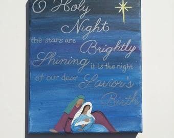 Hand-painted Nativity, Holy Family, O Holy Night