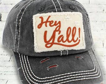 Distressed Hat, distressed trucker hat, hey y'all, vintage hat, women's hat, women's cap, shabby chic hat, country chic hat, boho hat, cap