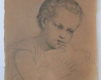 Drawing in pencil on cardboard, edude child and Dove, framed