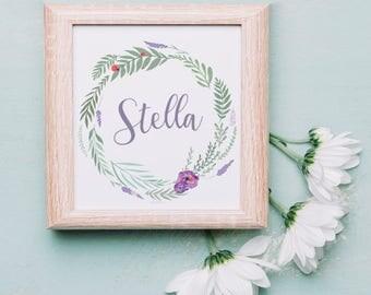 Lavender Ladybug Wreath Nursery Print