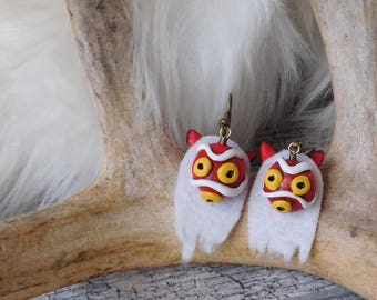 Princess Mononoke Mask Clay Charm Earrings