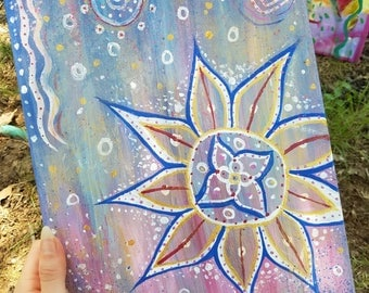"original abstract mandala painting ""Breezy"""