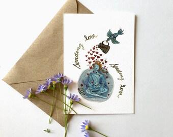 Love Greeting Card, Yoga Cards, Yoga Art, Meditation Card, Watercolor cards, Card for a Friend, Sending Love, Birthday Card, Yoga Lover Gift