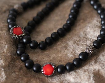 Black Onyx Spiritual Bead Necklace with Red Coral and Zircon Detail