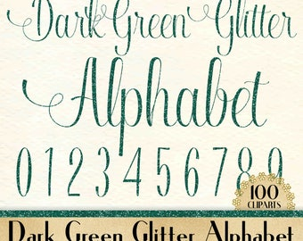 """100 Dark Green Glitter Alphabet Cliparts in 12"""" x 12"""" Separate, 300 Dpi Instant Download, Commercial Use, 100 Transparent Number"""