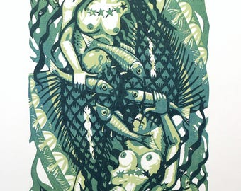 Mermaid lino print 10/15 (green)