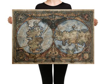 Game of Thrones Map Canvas | Game of Thrones Map | Game of Thrones Map of Westeros and Esso | Game of Thrones Map Art | GOT Antique Map