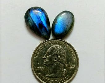 2 Pcs Lot ,,Mix Shape Labradorite  /Attractive Blue Flash Labradorite/wire wrap stone/Super Shiny/Pendant Cabochon/Labradorite Cabochon lot/