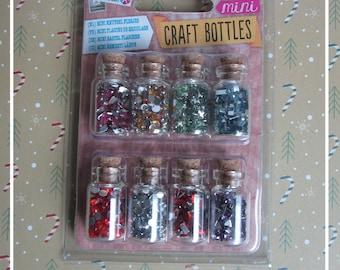 Set of mini-fioles / bottles with mini-sequins / glitter / rhinestone geometric shapes colors hobby