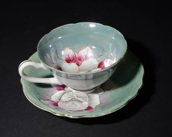 SHAFFORD, Hand Painted, Shafford, Teacup, and saucer, Grey and Pink Rose on a turquoise lustre, Gold Rimmed, Japan, Vintage