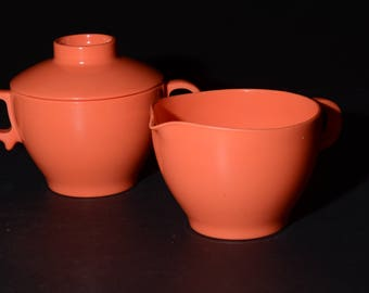 Vintage, MELMAC, Melamine, Orange, Creamer and Sugar Bowl with Lid, Dinnerware, Hard Plastic, Made in Canada, rare