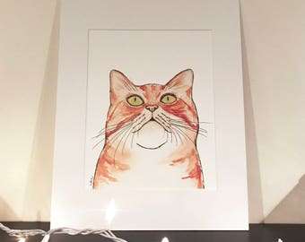 Curious Orange Cat Art Print
