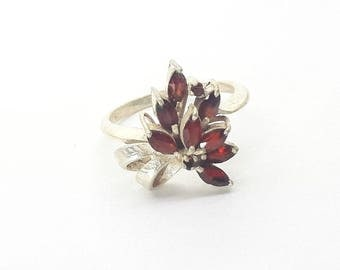 Garnet Sterling Silver Cluster Ring/Vintage Flower Burst/January Birthstone/Free Shipping US/Birthday/Christmas/Valentine/Anniversary