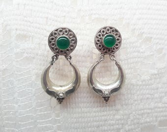 Green Onyx Sterling Silver Dangle Earrings/Vintage/Handmade  /925/Free Shipping US/Christmas/ Birthday/Valentine/Anniversary gift
