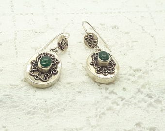 Green Onyx Sterling Silver Dangle Earrings/Vintage Gemstone and Silver Earrings/Handmade/Free Shipping US/Christmas/Anniversary/ Birthday