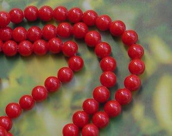 10 beads Red 8 mm mashan jade stone