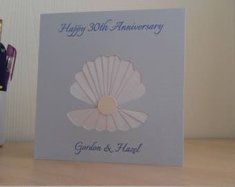 Personalised hand-made Pearl Wedding Anniversary Card - Shell with a Pearl design for Good Friends, Wife, Husband