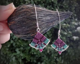 macrame earrings, glass beads, 925 sterling silver beads, silver plated wire, handcrafted earrings