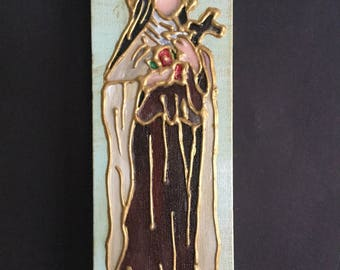 4 x 12 Inch Painting of Saint Therese of Lisieux, Little Flower