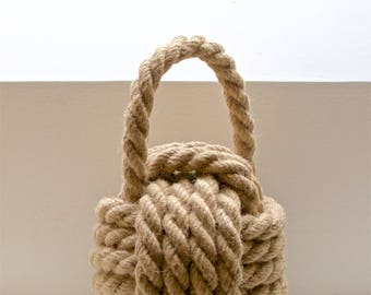 Rope Monkey Fist Doorstop - made from 16mm jute