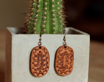 Olivia Tooled Earrings | Leather Earrings | Birthday Gift | Anniversary | Gifts under 25 | Handmade | Gifts for Her