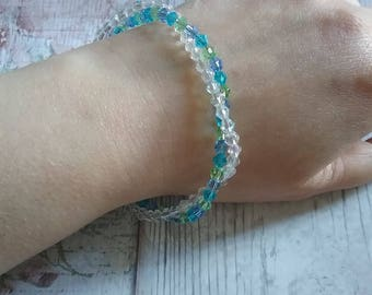 Sea Whispers - Twist Crystal Bicone Beaded Bracelet
