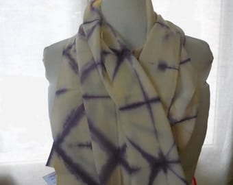 Purple silk crepe scarf