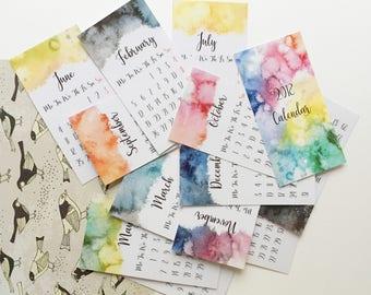 2018 Calendar // Small Calendar // Watercolor Painting // Laminated Desk Calendar